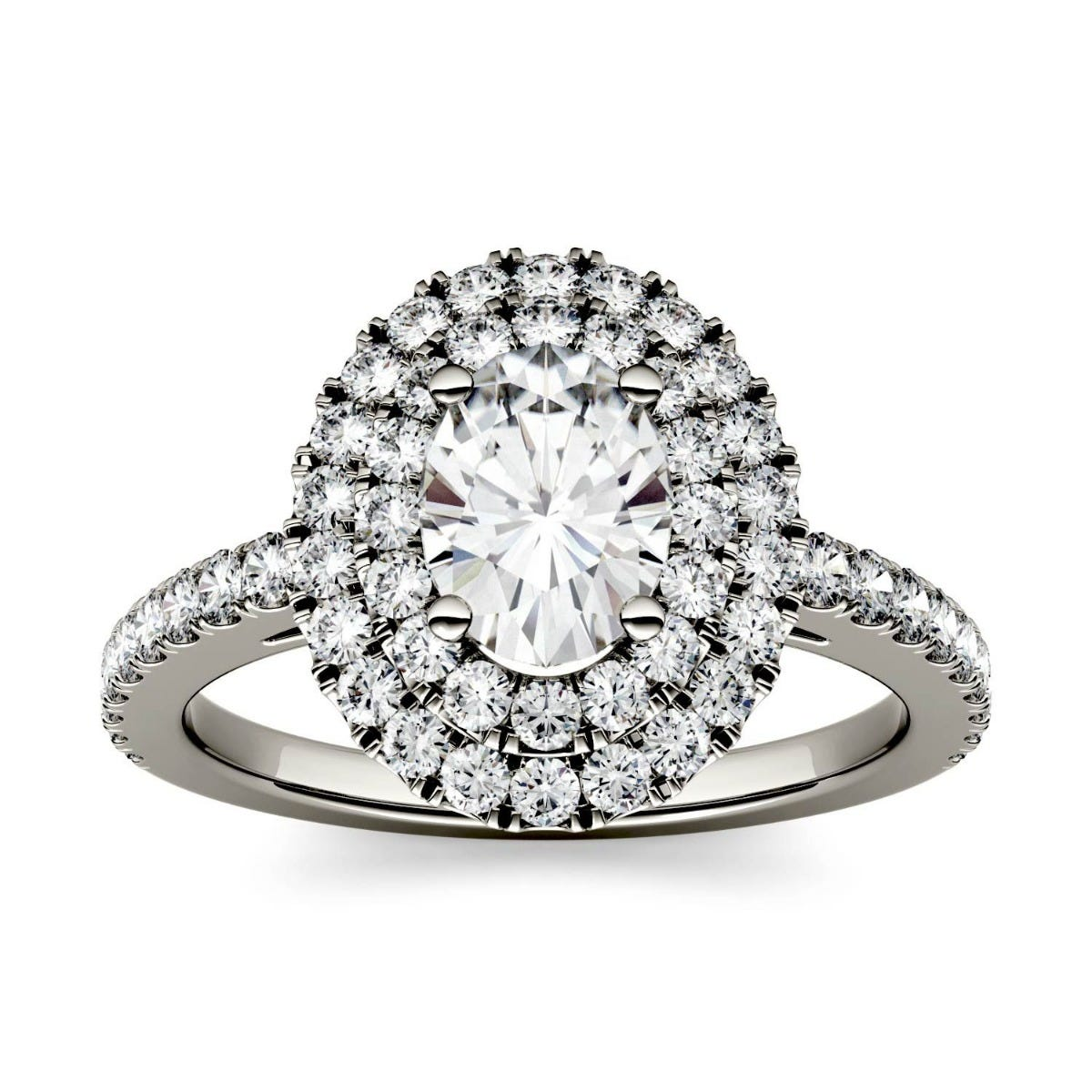 Forever One Oval Colorless Moissanite Double Halo with Side Accents Engagement Ring in 14K White Gold