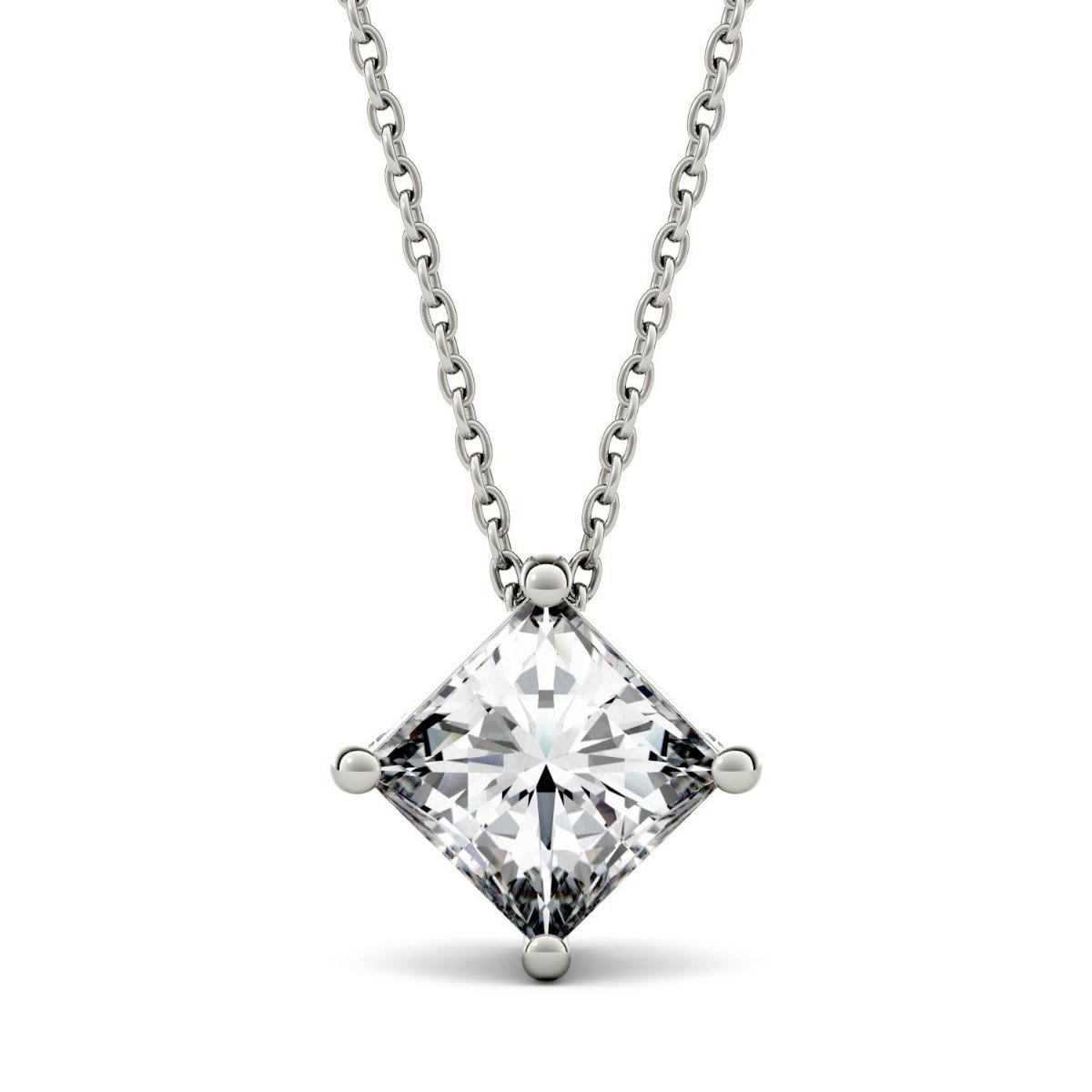 Forever One Princess Moissanite Solitaire Necklace