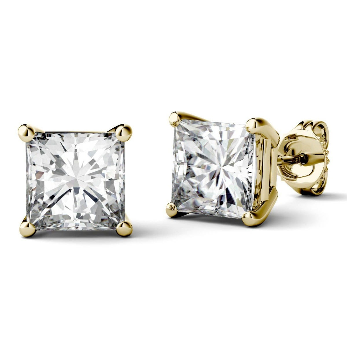 Forever One Princess Moissanite Four Prong Solitaire Stud Earring