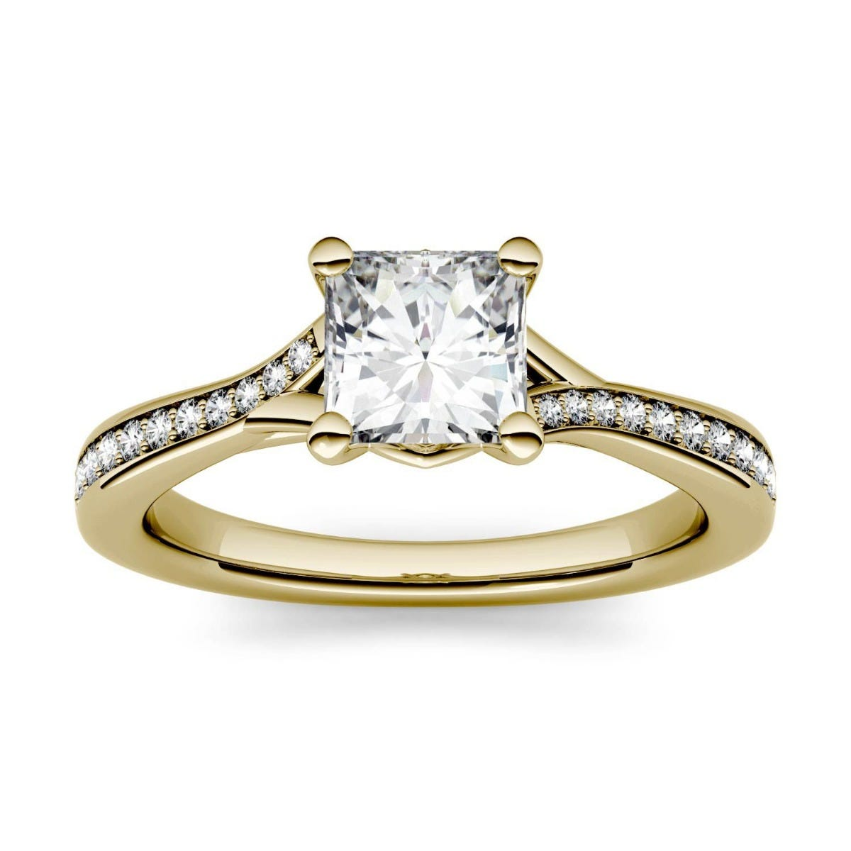 Forever One Princess Colorless Moissanite Solitaire with Side Accents Engagement Ring in 14K Yellow Gold