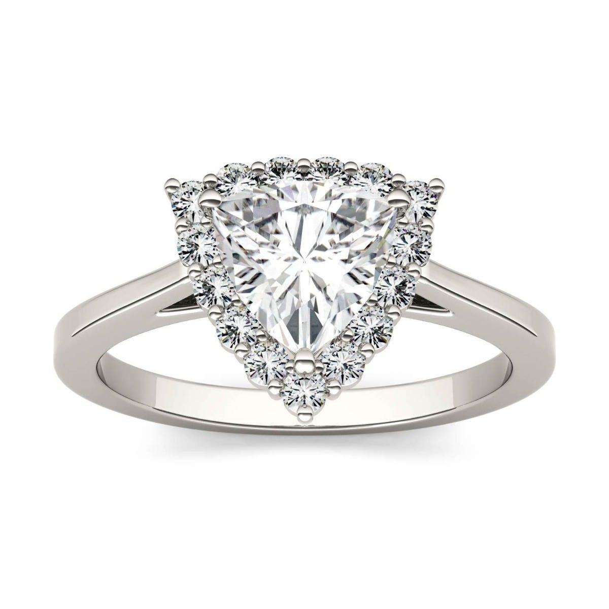 Forever One Trillion Colorless Moissanite Halo Engagement Ring in 14K White Gold