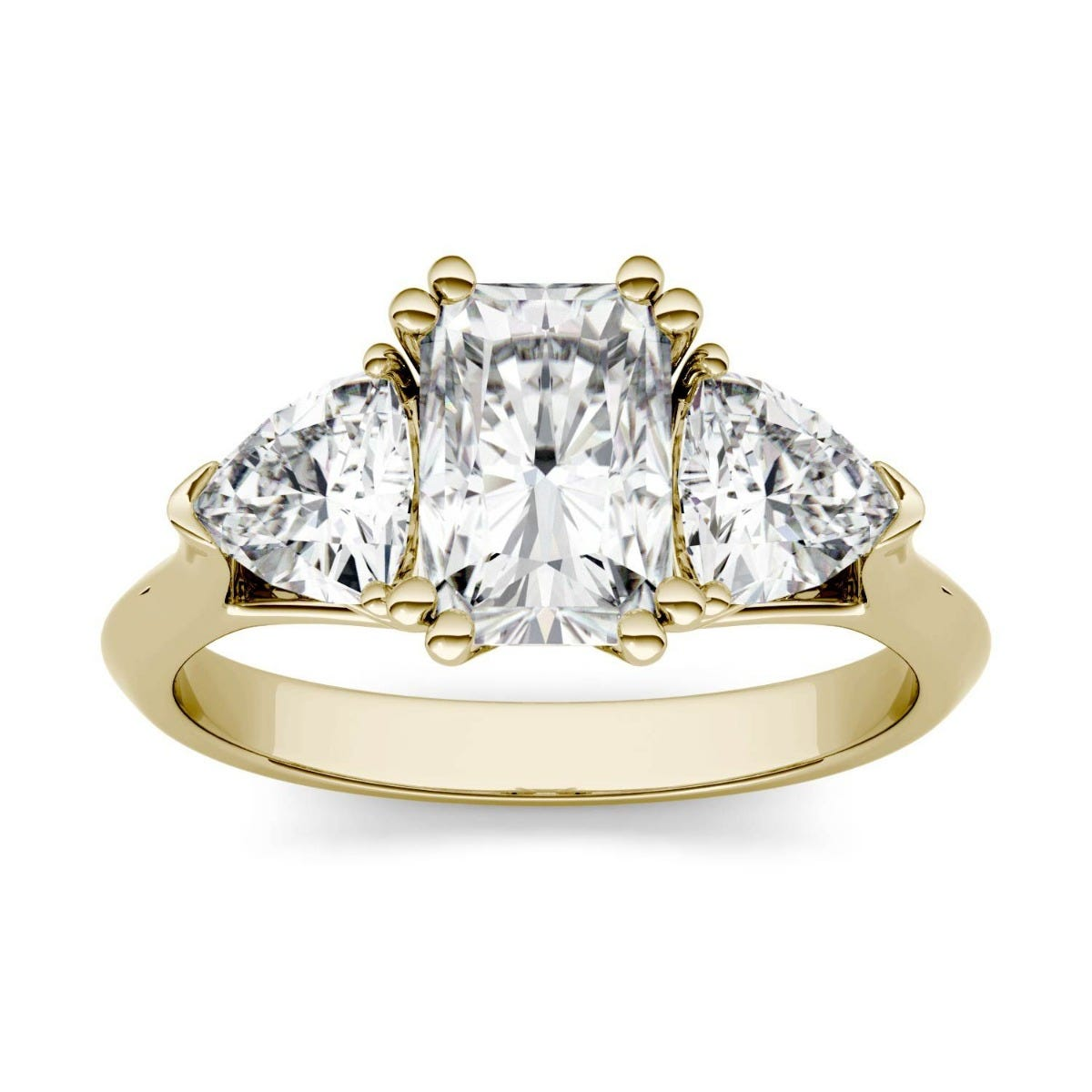 Forever One Radiant & Trillion Colorless Moissanite Three Stone Engagement Ring in 14K Yellow Gold