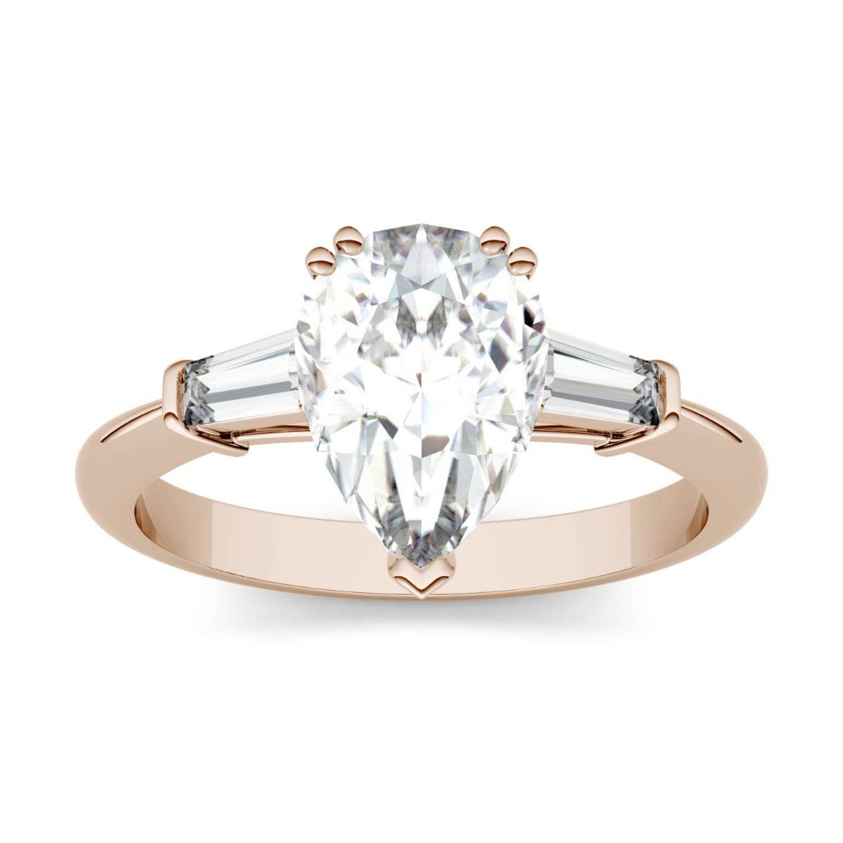 Forever One Pear Colorless Moissanite Three Stone Engagement Ring in 14K Rose Gold
