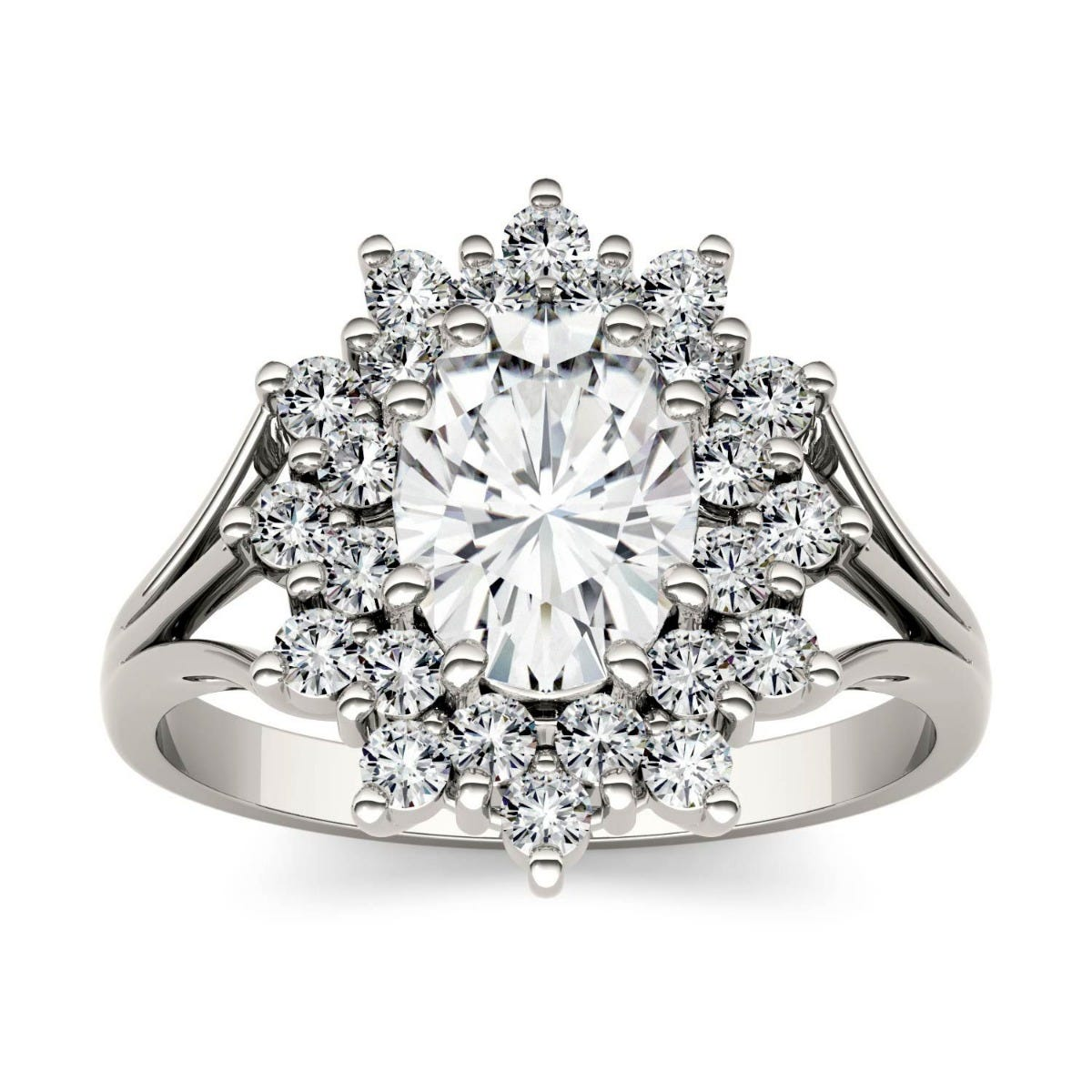 Forever One Oval Colorless Moissanite Floral Cluster Ring