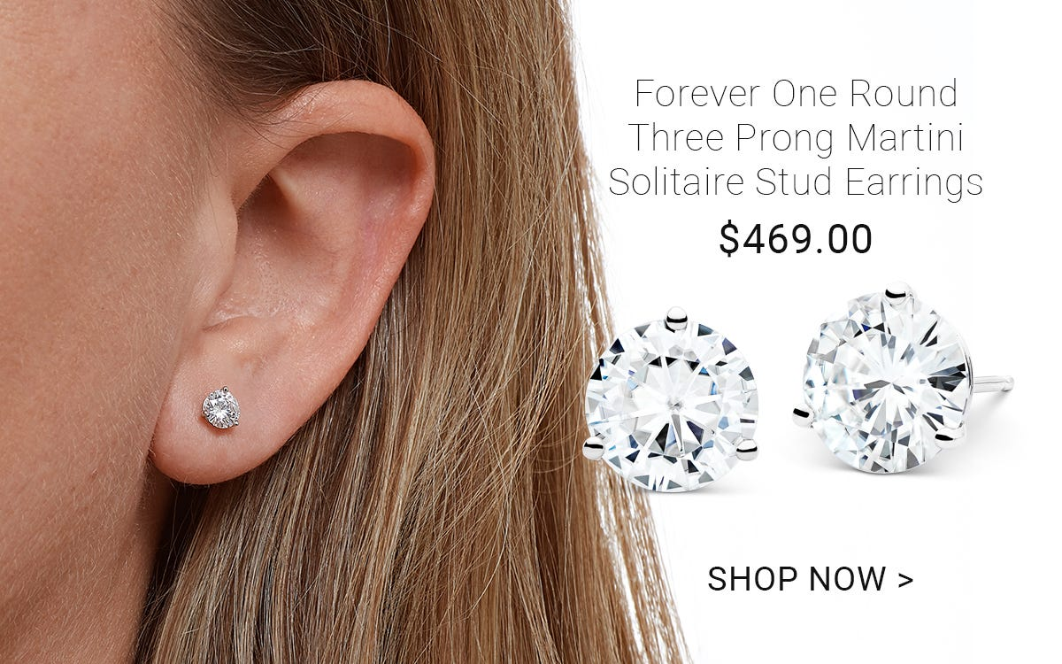 Forever One round three prong martini solitaire stud earrings