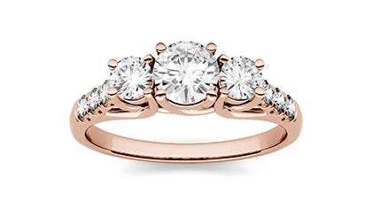 Rose Gold Three Stone Engagement Ring