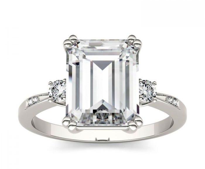 Emerald Foreverone Moissanite 14k white gold ring